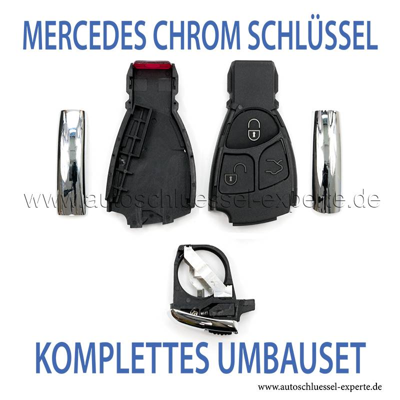 mercedes chrom geh use schl ssel umbauen kompletter set. Black Bedroom Furniture Sets. Home Design Ideas